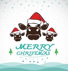 Cow merry christmas vector