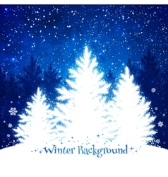 Christmas trees blue and white background vector