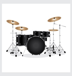 Drum set black vector