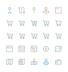 User interface colored line icons 44 vector