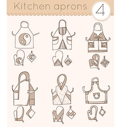 Set of kitchen aprons 4 vector