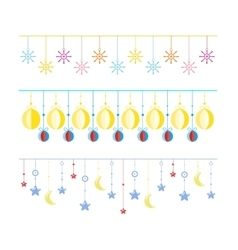 Colorful bunting and garland set isolated on white vector