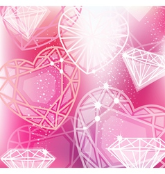 Abstract pink background with linear diamonds vector