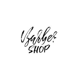 barber shop hand written lettering typography vector image