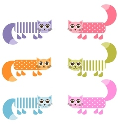 cute colorful patterned cat set vector image vector image
