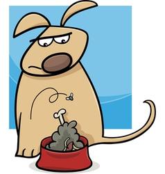 Dog and nasty food cartoon vector