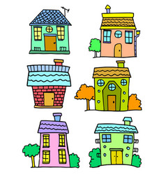 Doodle of house set colorful hand draw vector