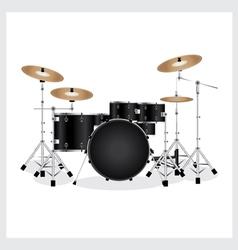 Drum set black vector