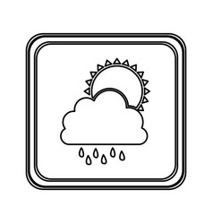 Figure emblem cloud rainning with sun icon vector