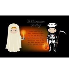 Halloween party invitation with cute kids vector image vector image