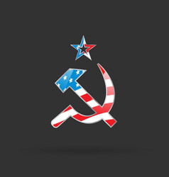 Hammer and sickle with usa flag vector