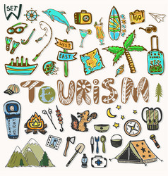 Hand draw travel icons set summer holiday - vector
