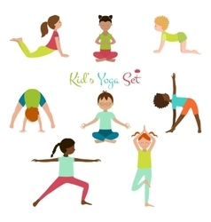 Kid yoga set vector
