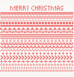 knitted dividers and borders for christmas and vector image