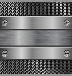 Metal brushed plate on perforated background vector