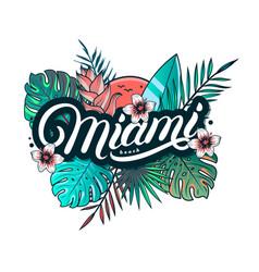 miami beach hand written lettering vector image