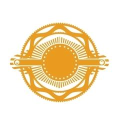 Orange gear abstract art deco emblem vector