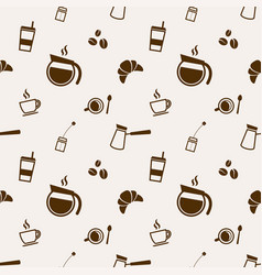 pattern with coffee and tea elements vector image