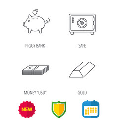 piggy bank cash money and safe icons vector image