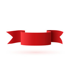 Red curved paper ribbon isolated on white vector image vector image
