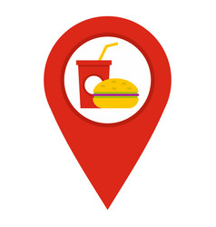 Red map pointer with fast food sign icon isolated vector