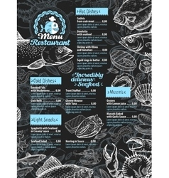seafood restaurant menu or cafe design template vector image vector image