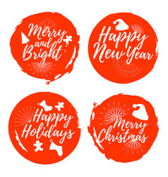 set of christmas labelfont with brush xmas badges vector image vector image
