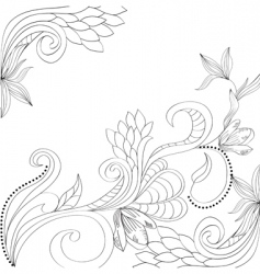 sketch with floral elements vector image