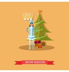 Snow Maiden near New Year vector image vector image