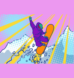 snowboarder jumping winter sports active vector image