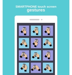 Touch gestures on smartphone vector image vector image