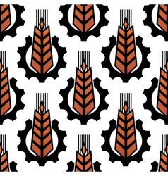 Wheat in gears seamless agriculture pattern vector image