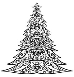 zentangle christmas tree decorative doodle vector image vector image