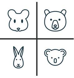 Zoology icons set collection of bunny rat vector