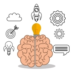 Brain student school set elements design vector