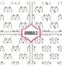 Doodle animals set collection of seamless pattern vector image