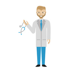 Beard doctor holding stethoscope vector