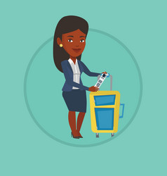 African business woman showing luggage tag vector