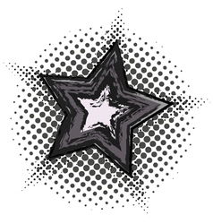 Grunge star with halftone pattern vector