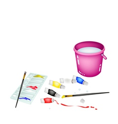 Color paint jars and palette with pink bucket vector