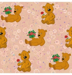 Seamless pattern teddy bears and gifts flowers vector image