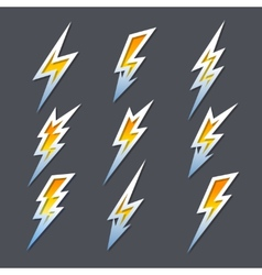 Set of zigzag lightning bolts or electricity icons vector