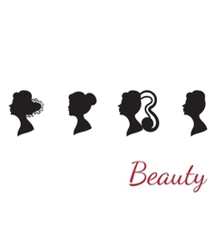 Collection of woman silhouettes from profile with vector image