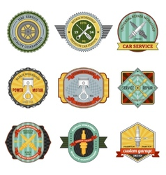 Repair workshop retro badges vector