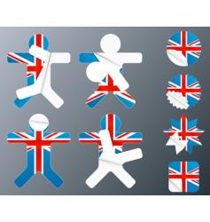 uk collection of peeling stickers vector image