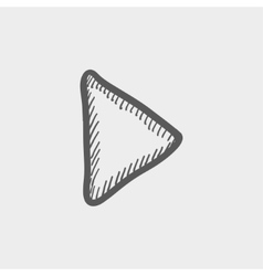Play button sketch icon vector