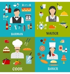 Cook baker waitress and barman professions vector