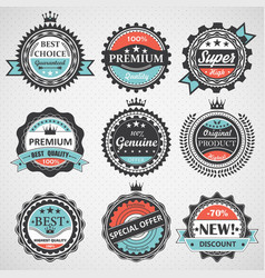 Set of premium quality guaranteed genuine badges vector
