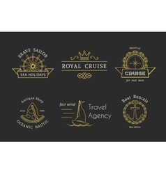 Retro nautical logo templates vector