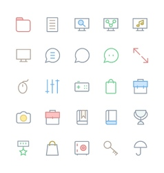 User interface colored line icons 45 vector